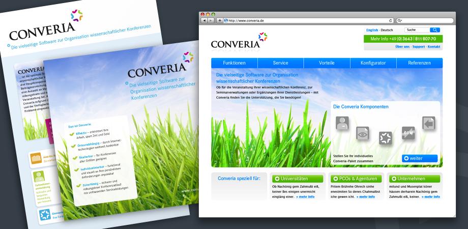 Converia Printsachen und Website