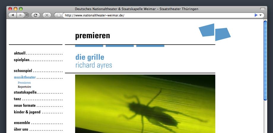 Webseite des Deutschen Nationaltheaters Weimar