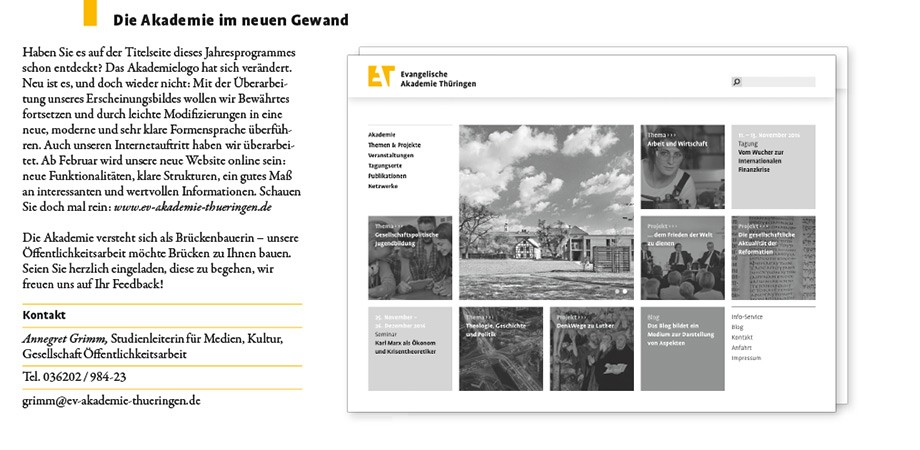 Evangelische Akademie Thüringen · Corporate Design · Programmheft 2016