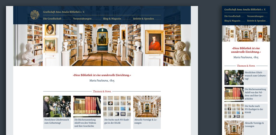 Website »Gesellschaft Anna Amalia Bibliothek e.V.«· Startseite