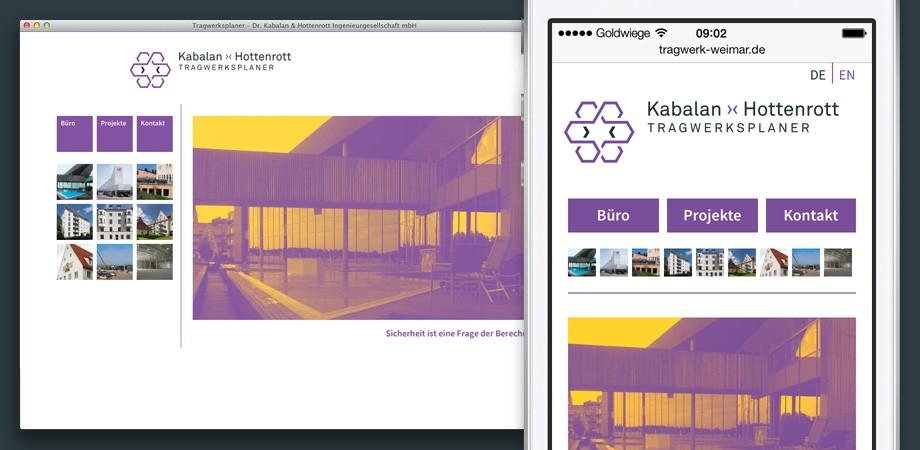 Kabalan ›‹ Hottenrott· Website· Startseite und Smartphone-Ansicht