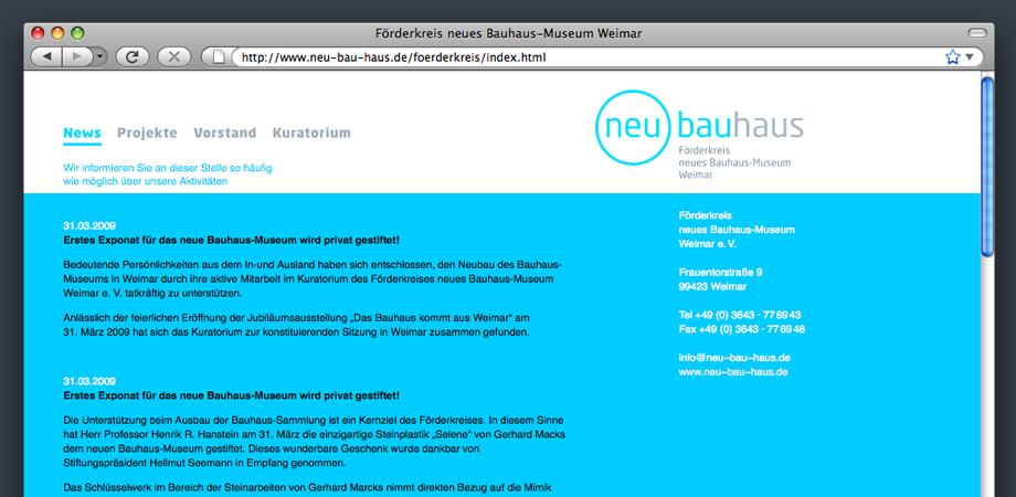 Webseite des Förderkreises Neues Bauhaus-Museum Weimar