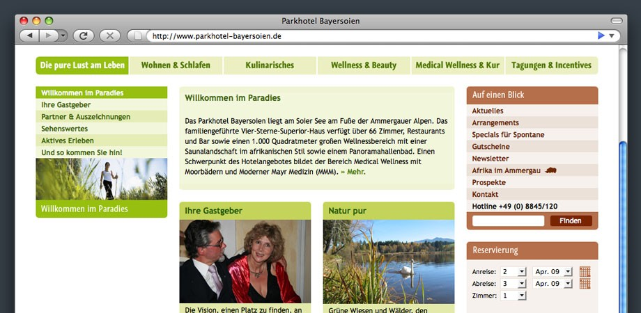 Website Parkhotel Bayersoien – Inhaltsseite