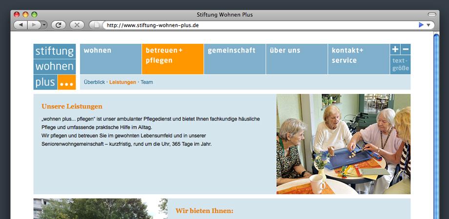 Website »Stiftung wohnen plus …« im Kammergut Tiefurt
